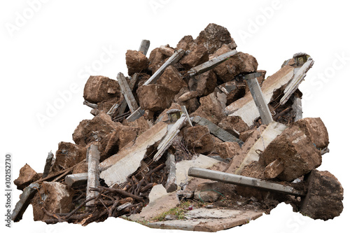 Fotografie, Obraz construction debris garbage bags, garbage bricks, a pile of rubble and material