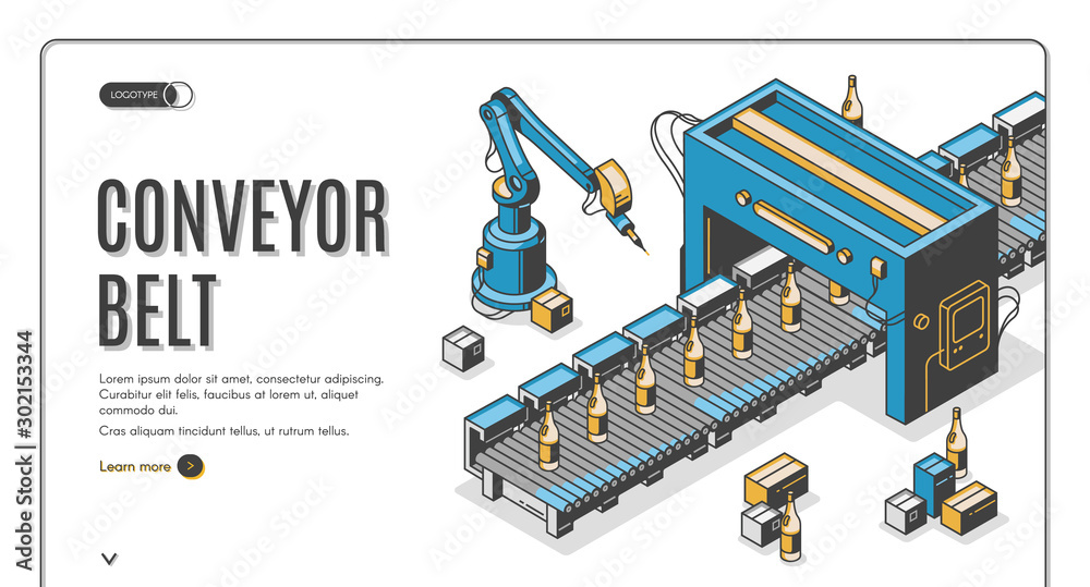 Fototapety, obrazy: Factory conveyor belt isometric landing page. Robotic arms packing glass bottles production on transporter line. Automation, smart industrial robot assistants. 3d vector illustration, line art, banner
