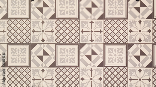 White and brown geometric azulejo tile wall texture background Canvas Print