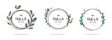 Set Of 6 Circle Cute Hand Drawn Frames On The White Background. Doodle Hand Drawn Decorative Outlined Wreaths With Branches, Leaves And Flowers. Vector Illustration. Circle Frames