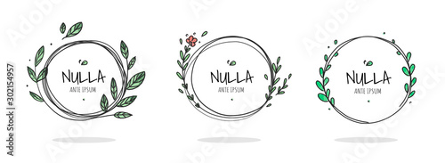 Obraz Set of 6 circle cute hand drawn frames on the white background. Doodle hand drawn decorative outlined wreaths with branches, leaves and flowers. Vector illustration. Circle frames - fototapety do salonu