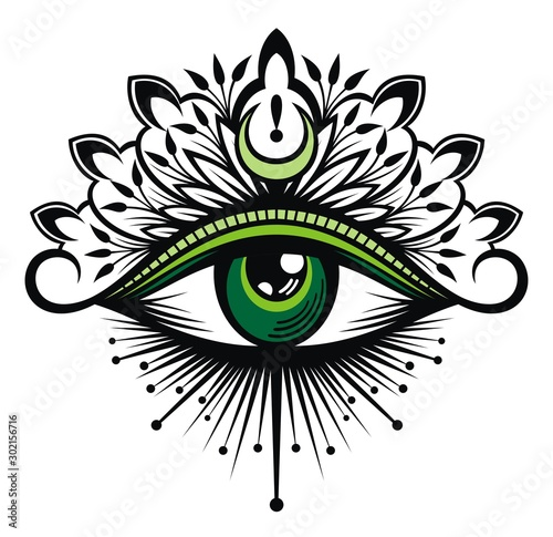 Tattoo flash. Eye of Providence. Masonic symbol. All seeing eye