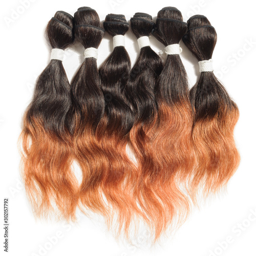 black to auburn ombre style wavy  human hair weave extensions bundles Canvas Print