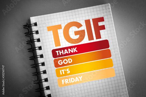 Photo  TGIF - Thank God It's Friday acronym, concept background