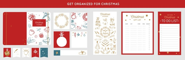 Merry Christmas organizer, planner, notepad, diary with vector hand drawn illustrations and handwritten calligraphy. Happy new year vintage elements. Get organized for ChristmasReady for print
