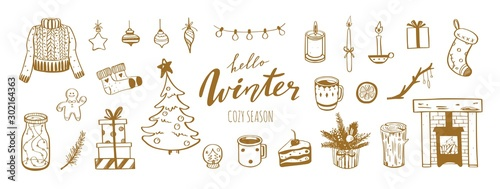 Hello Winter and Merry Christmas vector hand drawn set Wallpaper Mural
