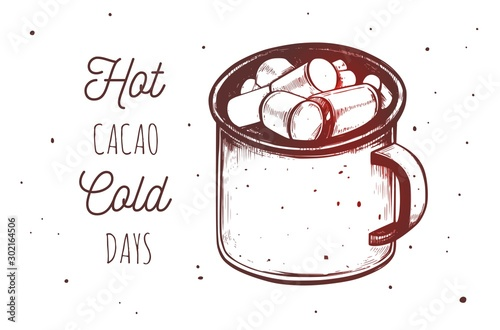 Stampa su Tela Inspirational quote with hot chocolate, cacao mug with marshmallow