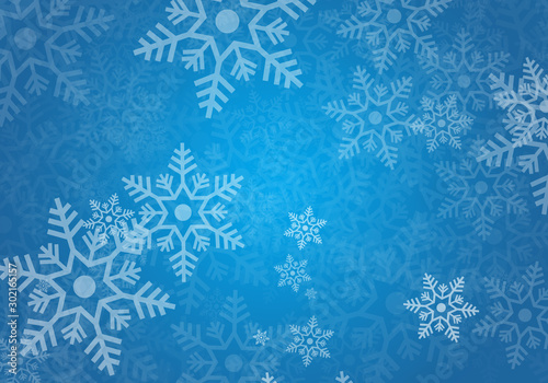 Fondo azul navideño con copos de nieve. Wallpaper Mural