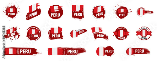Peru flag, vector illustration on a white background Canvas Print