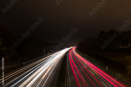 Photo sur Toile Autoroute nuit German autobahn at night