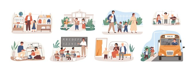 Back to school vector illustrations set. Preparation to Day of knowledge, sch...
