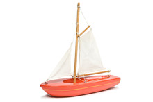 Toy Red Yacht Isolated On A Wh...