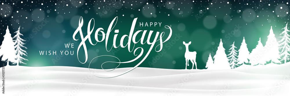 Fototapeta Happy Holidays Winter Landscape Background. Christmas lettering banner