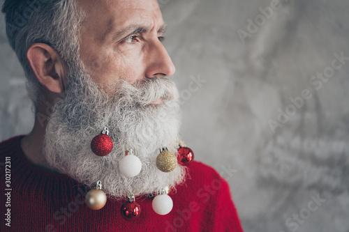 Canvastavla  Cropped profile side photo of masculine brutal old man look elegant prepare for