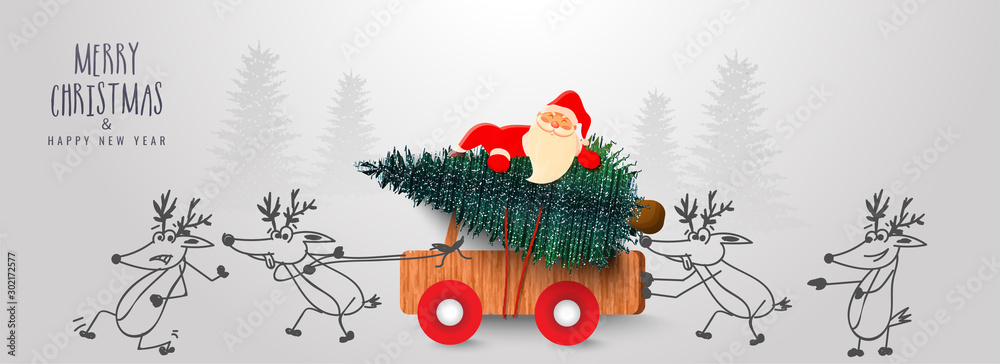 Fototapeta Cute santa claus carrying Xmas tree on wooden pickup truck pushing by cartoon reindeer on the occasion of Merry Christmas & Happy New Year celebration.