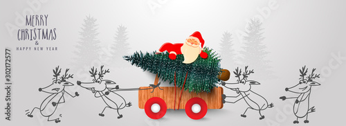 Cute santa claus carrying Xmas tree on wooden pickup truck pushing by cartoon reindeer on the occasion of Merry Christmas & Happy New Year celebration Fototapete