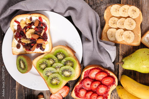 assorted of toast with fruits- breakfast toast, sandwich Canvas Print