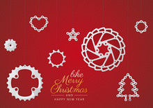 Vector Christmas Theme. Bike Components As Christmas Decorations. Red Background.