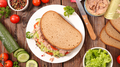 Photo  sandwich with avocado, tuna, cucumber and tomato