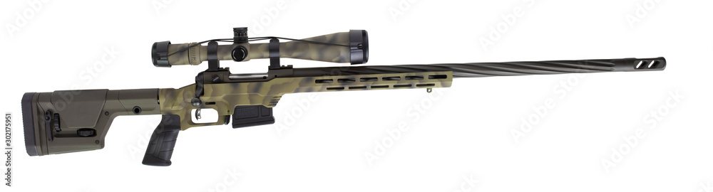 Fototapety, obrazy: Sniper scope and rifle on white
