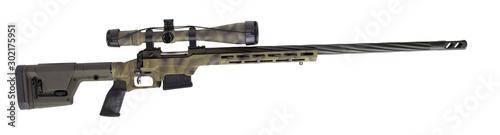 Fotografía  Sniper scope and rifle on white
