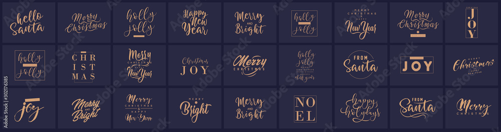 Fototapety, obrazy: Merry Christmas and happy New Year set with lettering typographic compositions for the poster and greeting card. Calligraphy for winter holiday. Vector