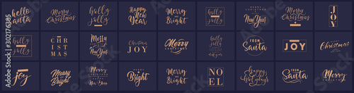Fotomural Merry Christmas and happy New Year set with lettering typographic compositions for the poster and greeting card