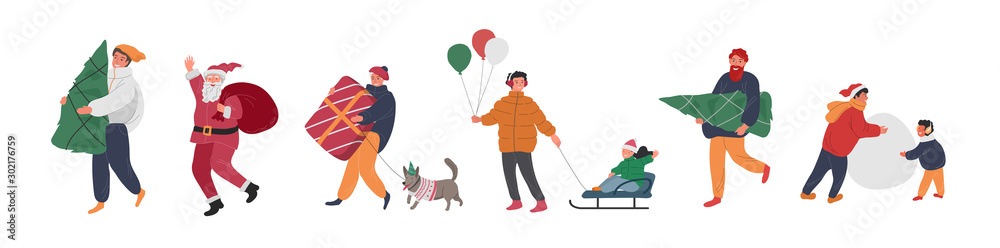 Fototapeta Christmas holiday people with Santa, elf, penguin and snowman. New Year greeting cards with snow. Winter festive Vector cartoon