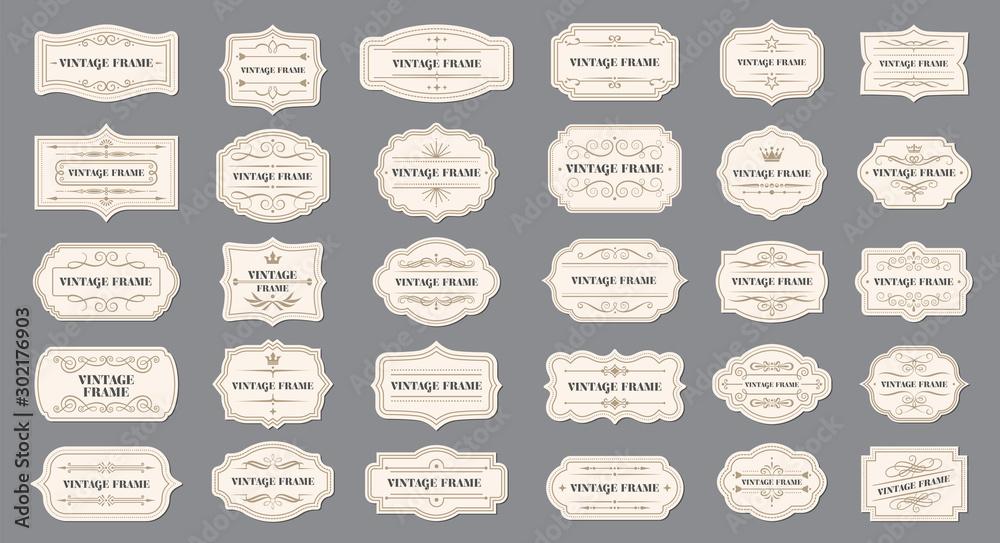 Fototapeta Ornamental label frames. Old ornate labels, decorative vintage frame and retro badge