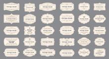 Ornamental Label Frames. Old Ornate Labels, Decorative Vintage Frame And Retro Badge