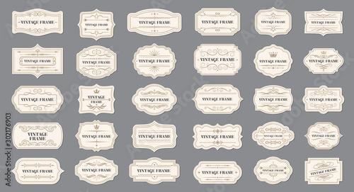 Obraz Ornamental label frames. Old ornate labels, decorative vintage frame and retro badge - fototapety do salonu