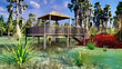 Leinwanddruck Bild - Fishing pier in the swamp 3d rendering