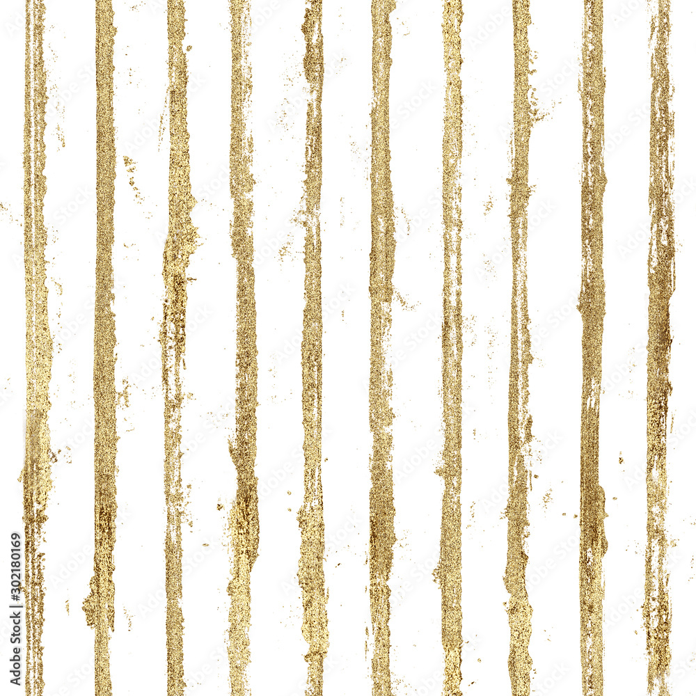 Fototapeta Gold gliterring shining stripe grunge seamless pattern. Golden stripes on black background.