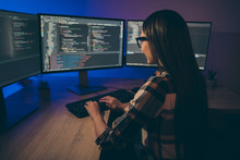 Back Rear View Photo Of Programmer Improving Security System Of Her Corporation By Using Artificial Intelligence