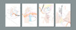 Pastel muted pale calm tones card templates set. Collection of romantic abstraction background line color