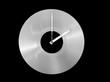 Schallplatten Uhr isoliert auf schwarzem Hintergrund