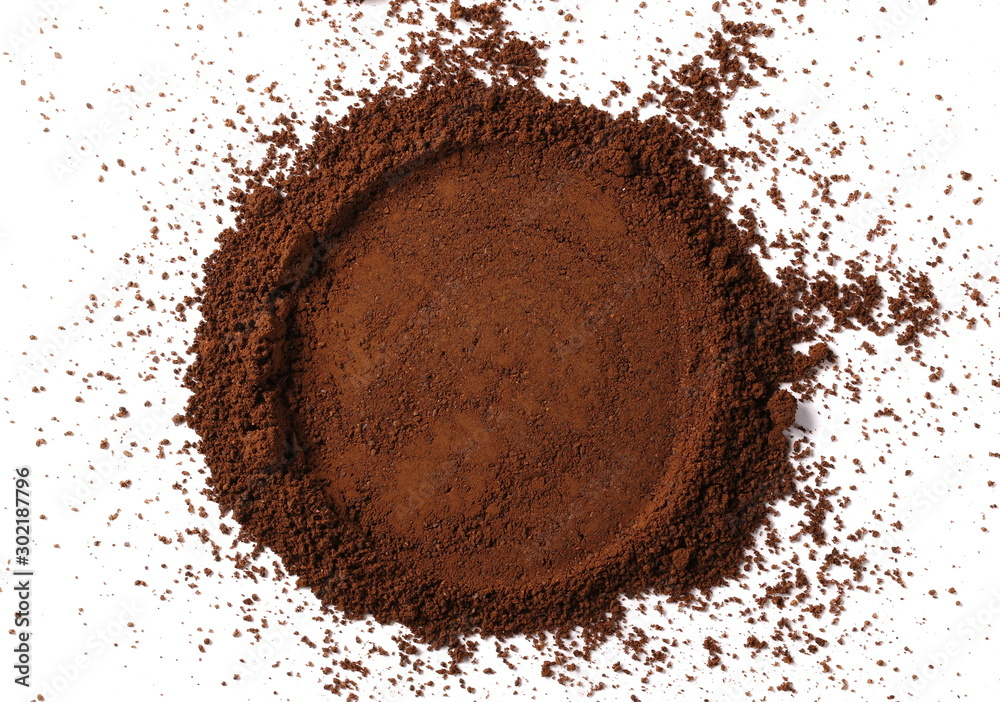Fototapety, obrazy: Instant powdered coffee for espresso frame isolated on white background, top view