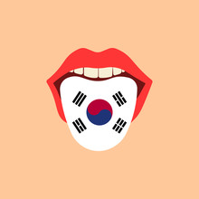Learning Language Concept. Learning Korean Language. Tongue In Open Mouth With Flag. Flat Design