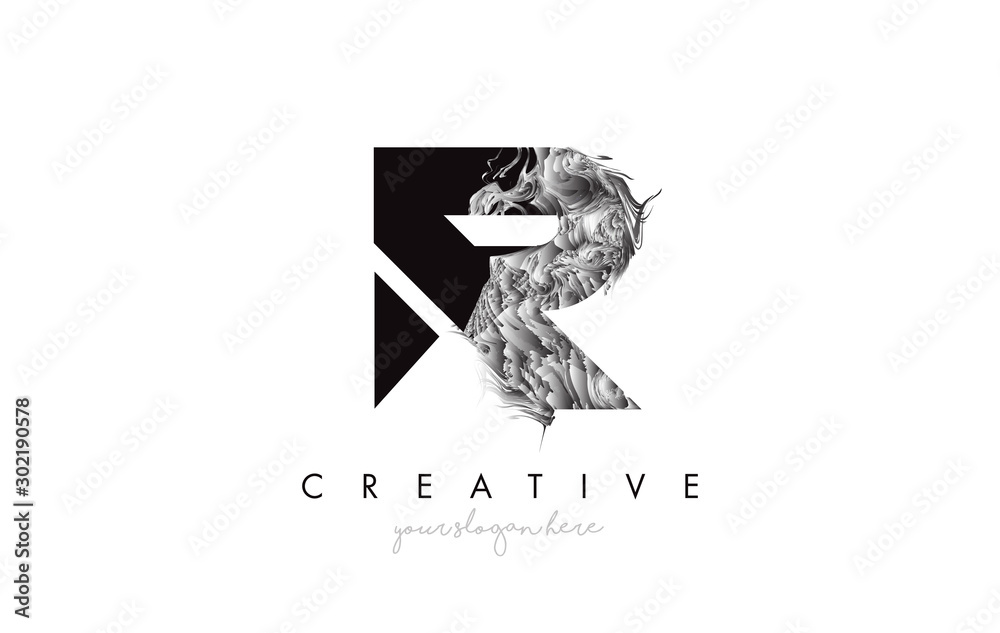 Fototapeta Letter R Logo Design Icon with Artistic Grunge Texture In Black and White