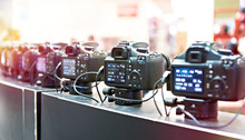 SLR Digital Cameras In Row
