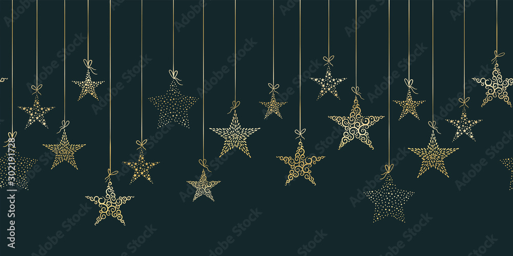 Fototapety, obrazy: Hand drawn hanging christmas baubles horizontal seamless, great for christmas themes, banners, wallpaper, textiles - vector design