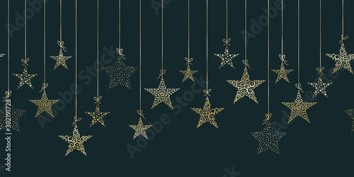 Türaufkleber Künstlich Hand drawn hanging christmas baubles horizontal seamless, great for christmas themes, banners, wallpaper, textiles - vector design