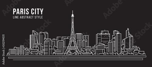 Valokuva Cityscape Building panorama Line art Vector Illustration design -paris city