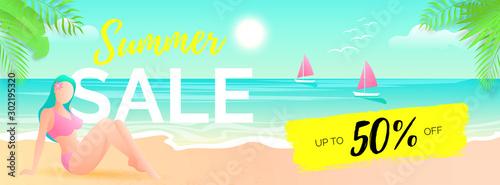 Poster Vert corail Horizontal summer offer banner template
