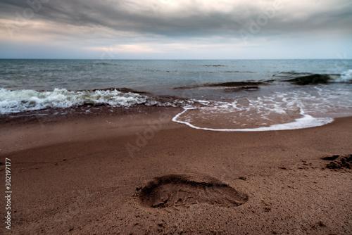 Foto auf Leinwand Dunkelbraun A walk along the beach in Władysławowo