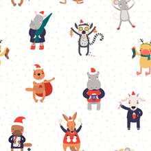 Hand Drawn Seamless Vector Pattern With Cute Animals In Santa Hats Doing Christmas Activities, On White Background. Scandinavian Style Flat Design. Concept For Kids Print, Wallpaper, Wrapping Paper.