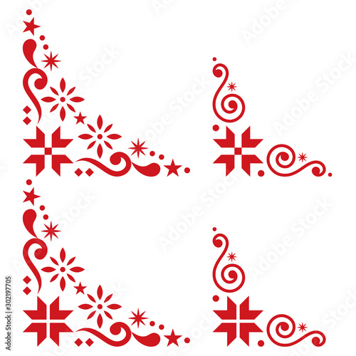 Christmas vector corner set - Scandinavian style, folk design elements with snow Fototapet