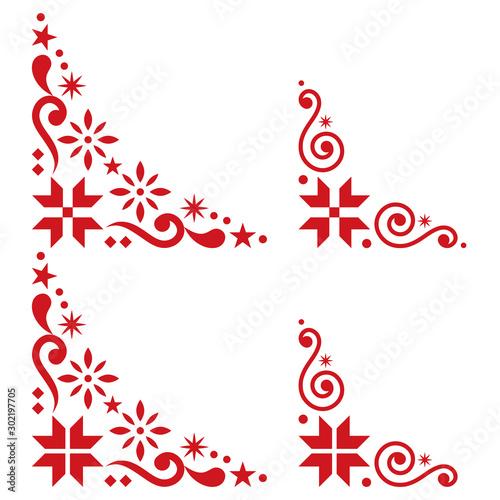 Fotografija  Christmas vector corner set - Scandinavian style, folk design elements with snow