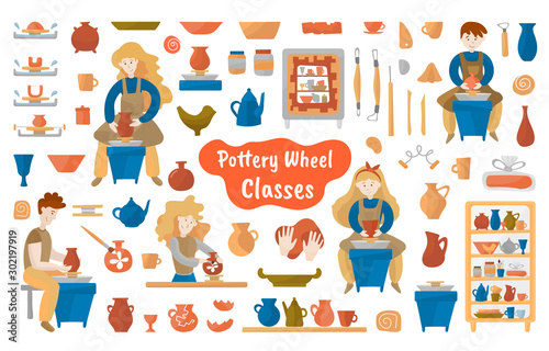 Fotografija Pottery wheel and pottery mega vector set for background, print or textile