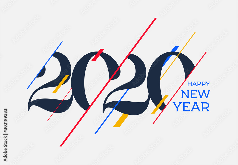 Fototapeta 2020 Happy new year design template. Logo Design for calendar, greeting cards or print. Vector illustration. Isolated on white background.